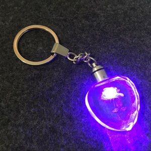 NEW KEYCHAIN GLASS HEART w/ ROSE LIGHTS UP BLUE